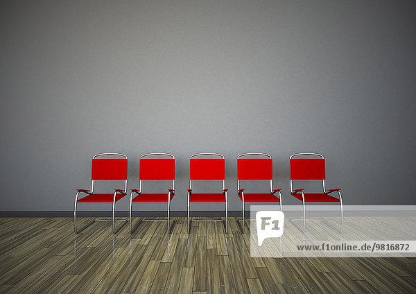 Reihe von fünf roten Stühlen vor einer grauen Wand  3D Rendering