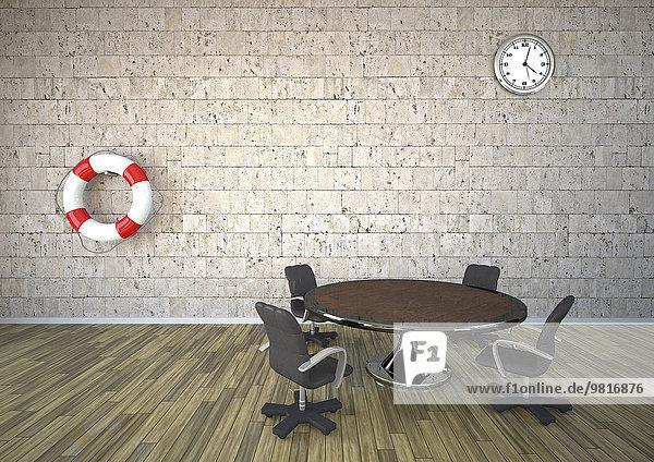 Live-Saver und Uhr an der Natursteinwand im Besprechungsraum  3D-Rendering