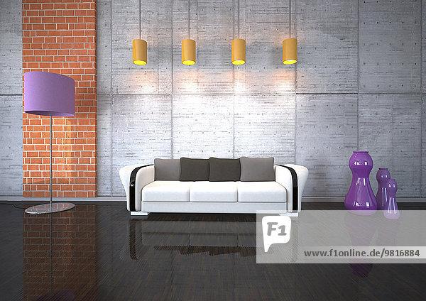 Couch im Wohnzimmer mit Beleuchtung Couch im Wohnzimmer mit Beleuchtung