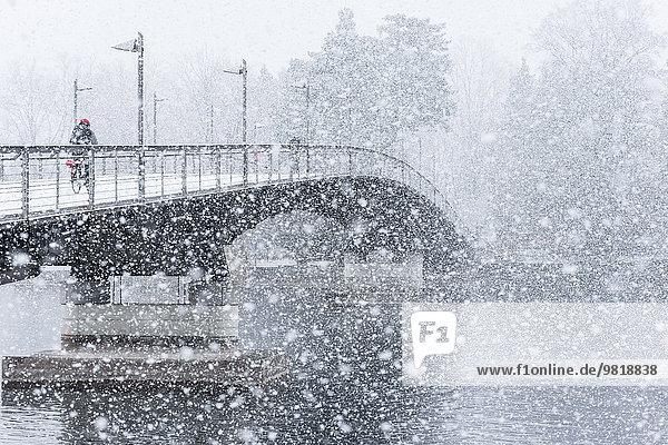 Germany,  Baden-Wuerttemberg,  Constance,  Snowfall,  Cycle bridge over Lake Rhine