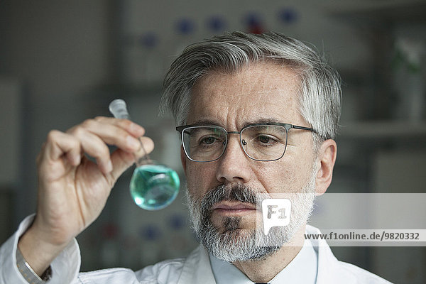 Wissenschaftler im Labor zur Untersuchung von Flüssigkeit in Rundkolben
