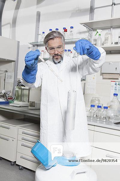 Wissenschaftler bei der Untersuchung von Laborproben in Stickstoff