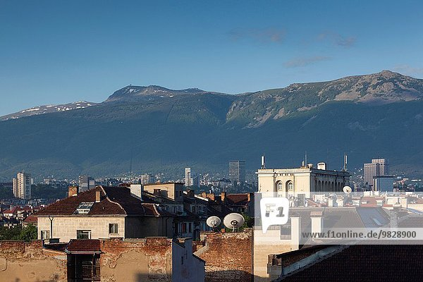 Bulgaria  Sofia  elevated dawn view of downtown and Mt. Vitosha.