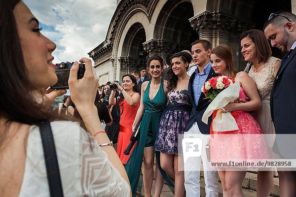Bulgaria  Sofia  Ploshtad Alexander Nevski Square  Bulgarian students celebrating high school graduation  NR.