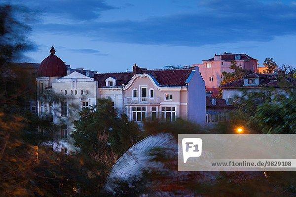 Gebäude Morgendämmerung Großstadt Ansicht Erhöhte Ansicht Aufsicht heben Bulgarien Plovdiv