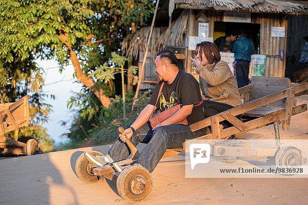 Wettrennen Rennen Fuhrwerk Chiang Mai Marmelade Mon Thailand