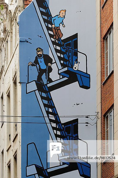 Europa Brüssel Hautpstadt Wandbild Cartoon Belgien