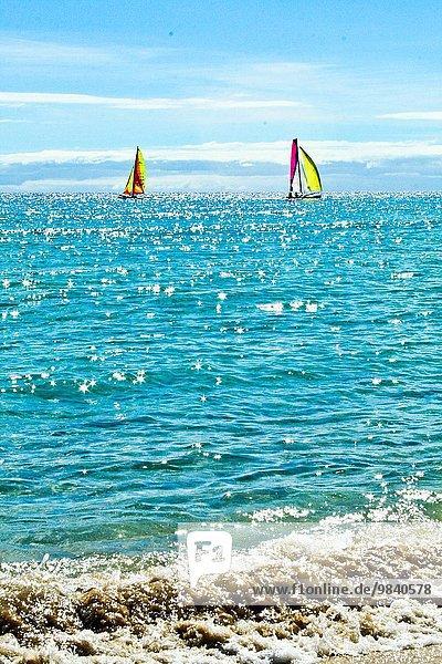 Wasser Küste Boot blau Spanien