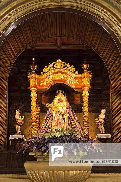 Patron saint of the Canary Islands  Virgen de la Candelaria in the Basilica de Nuestra Senora de la Candelaria in the pilgrimage town of Candelaria  Tenerife  Canary Islands  Spain  Europe