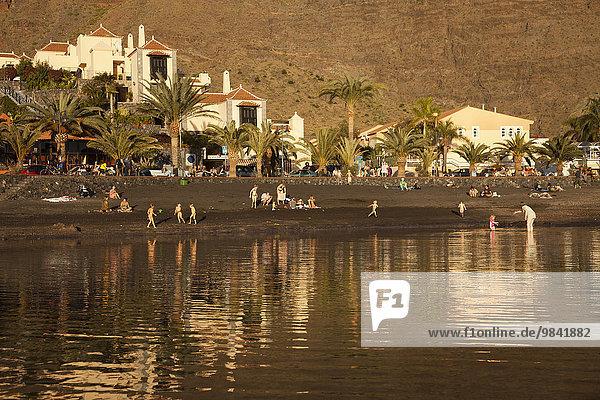 Black beach Baby Beach in La Puntilla  Valle Gran Rey  La Gomera  Canary Islands  Spain  Europe