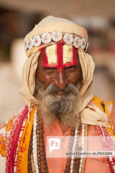 Portrait of a Sadhu  Pushkar  Rajasthan  India  Asia