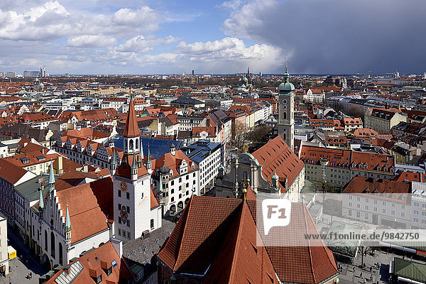 View over the historic centre  Old City Hall and Heilig-Geist-Kirche or Holy Spirit Church  Munich  Upper Bavaria  Bavaria  Germany  Europe