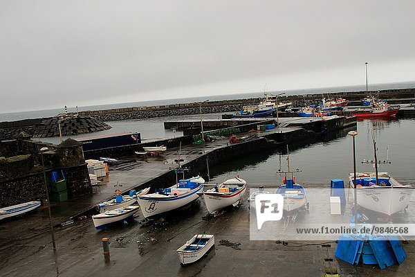 Fishing boats in the seaport of Vilafranca do Campo. Sao Miguel island  Azores  Portugal