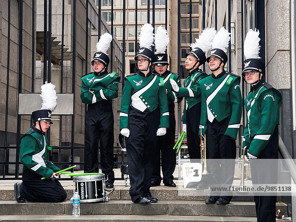 Young musicians ready to parade  St. Patrick´s Day Parade  Philadelphia  USA.