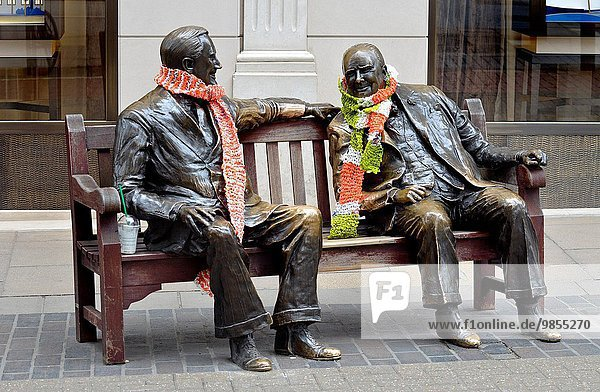London  England  UK. Bronze Statue in Old Bond Street - ´Allies´ (Lawrence Holofcener - 1995) Winston Churchill and Franklin D Roosevelt on a bench.