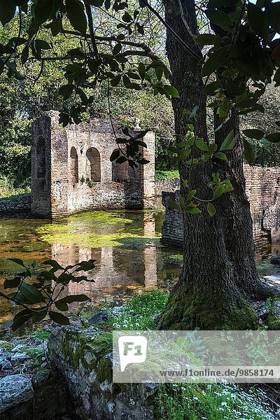 The flooded remains of the gymnasium at Ancient Butrint in Southern Albania.