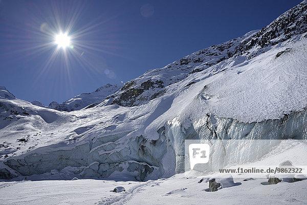 Morteratschgletscher  Oberengadin  Kanton Graubünden  Schweiz  Europa