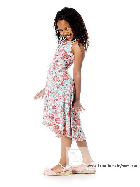 girl in a floral print dress