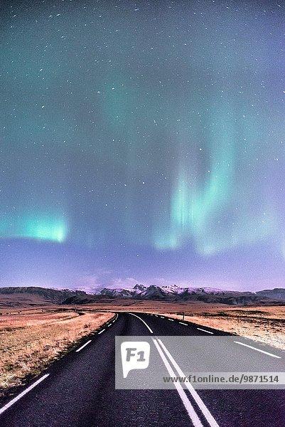 Aurora borealis low in Autumn  Iceland.