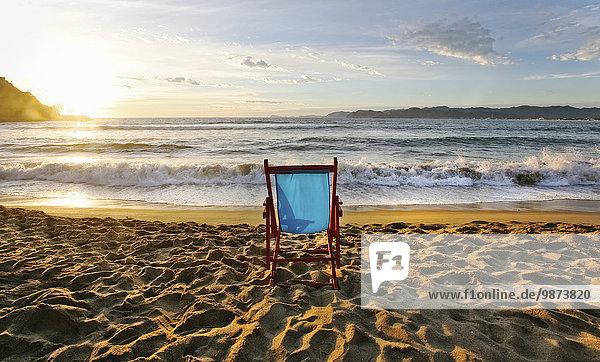 Stuhl Strand Sonnenuntergang Horizont Sand
