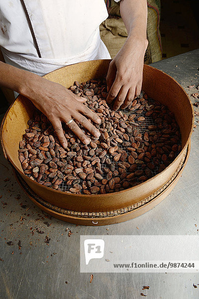 Kaffeebohne gebraucht Produktion Schokolade Kakao heiße Schokolade Trinkschokolade Fabrikgebäude Bohne Lyon sortieren