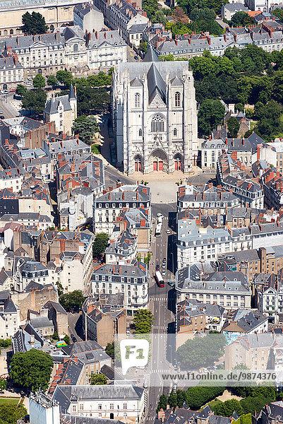 Kathedrale Heiligtum Ansicht Nantes Luftbild Fernsehantenne Innenstadt Pierre