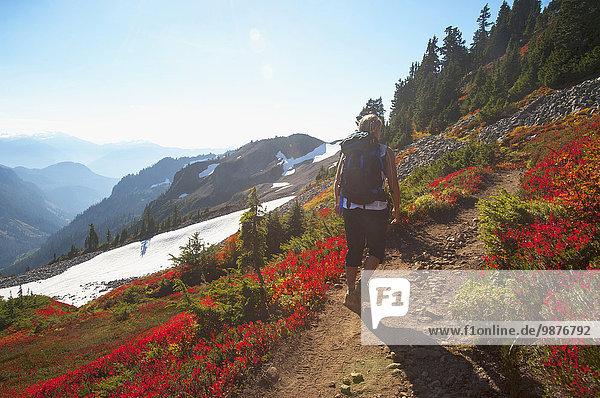 Frau Felsen folgen Hügel wandern