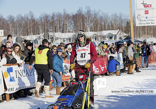 Joar Leifseth Ulsom heads down the chute during the restart of the 2014 Iditarod  Willow  Southcentral Alaska