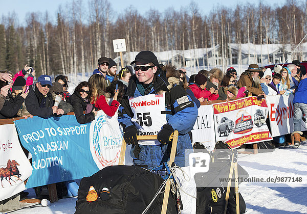 Elliot Anderson heads down the chute during the restart of the 2014 Iditarod  Willow  Southcentral Alaska