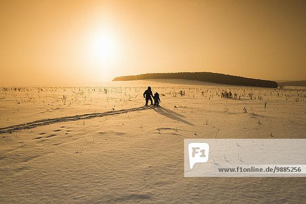 Scherenschnitt durch die verschneite Landschaft bei Sonnenuntergang  Dorf Sarsy  Gebiet Swerdlowsk  Russland