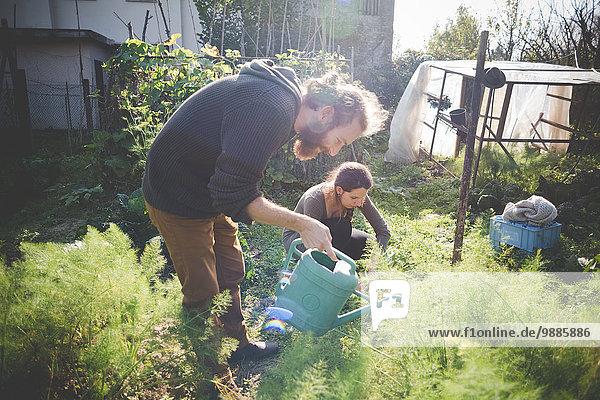 Junges Paar im Garten