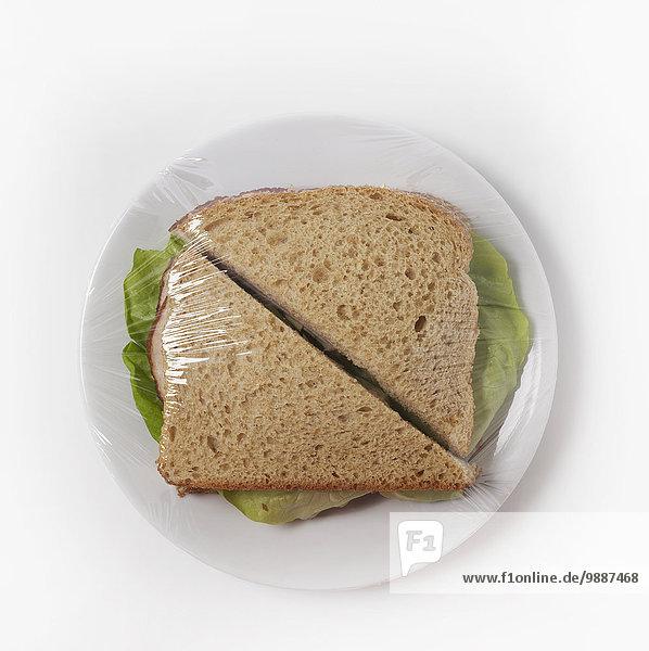 einwickeln Teller Kunststoff Sandwich