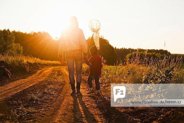 Rückansicht von Vater und Sohn mit Schmetterlingsnetz bei Sonnenuntergang  Dorf Sarsy  Gebiet Swerdlowsk  Russland