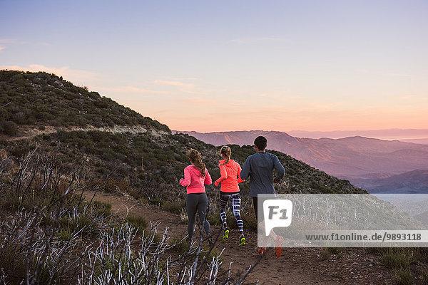 Rückansicht von drei erwachsenen Trail Running-Freunden auf dem Pacific Crest Trail  Pine Valley  Kalifornien  USA