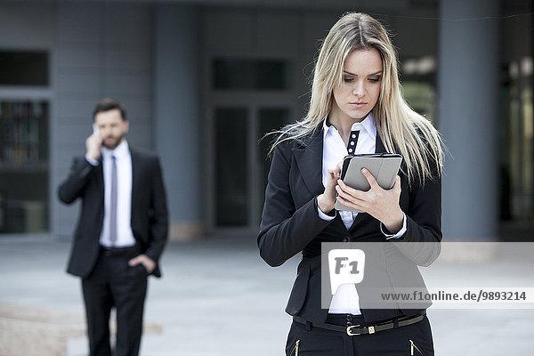 Außenaufnahme benutzen Frau Tablet PC Business freie Natur