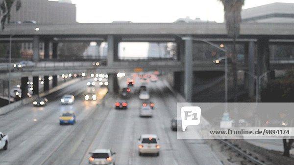 Cars Moving on Freeway  Los Angeles  California  USA