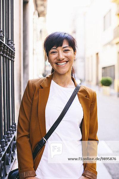 Spain  Barcelona  portrait of smiling woman