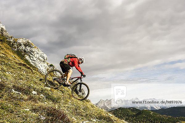 Österreich  Altenmarkt-Zauchensee  junger Mountainbiker auf den Niederen Tauern