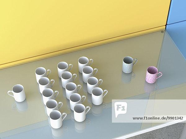 Verschiedene Kaffeetassen auf Glastisch  3D-Rendering