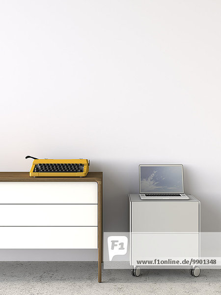 Altmodische Schreibmaschine neben modernem Laptop  3D Rendering