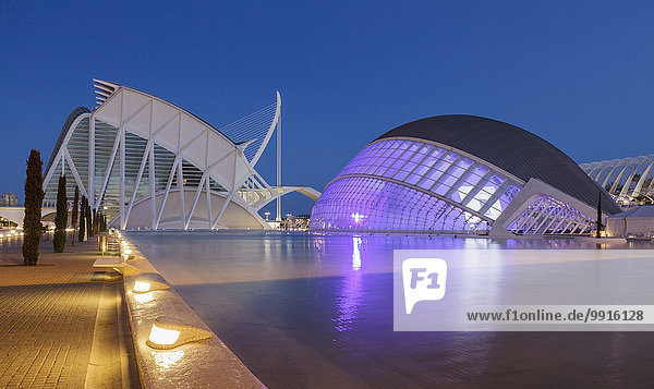 Stadt der Künste und Wissenschaften  Museu de les Ciencies Príncipe Felip Wissenschaftsmuseum und Hemisferic IMAX-Kino  Valencia  Spanien  Europa