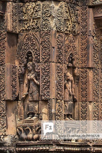 Devi Figuren aus Sandstein am Mandapa  Khmer-Hindu-Tempel Banteay Srei  Provinz Siem Reap  Kambodscha  Asien