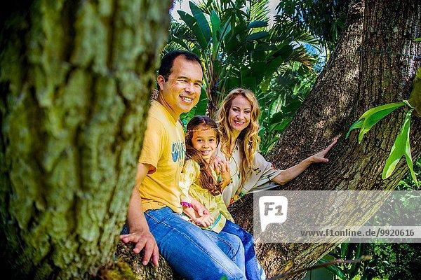 Porträt eines reifen Paares und einer Tochter  die auf einem Gartenbaumzweig sitzen