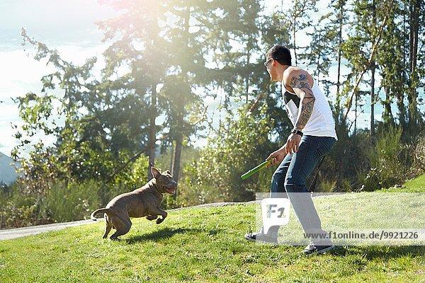 Junger Mann wirft Stock für Hund im Park