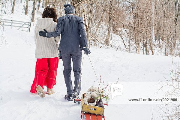 Rückansicht gehen Schnee Feld Mittelpunkt Erwachsener