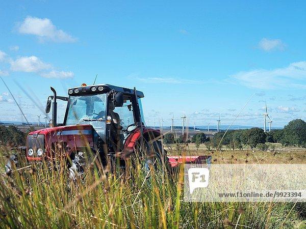 Traktor schneidet Gras auf dem Windpark