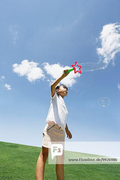 Seife Großstadt Blase Blasen jung Mädchen japanisch spielen