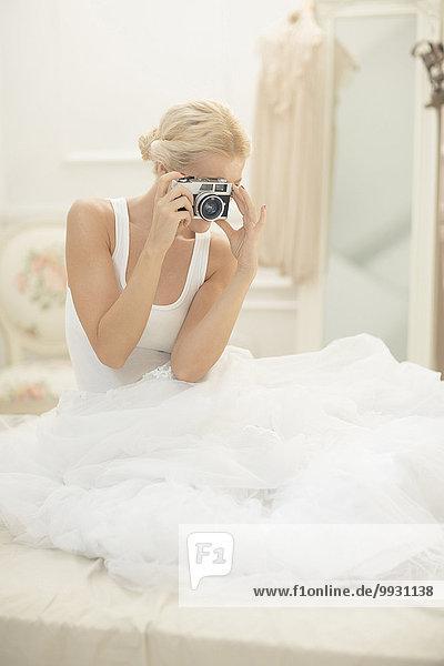 Braut, Bett, Retro, fotografieren, Fotoapparat, Kamera