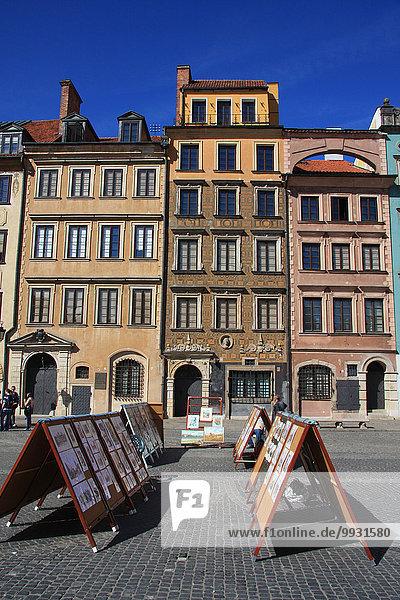 Warschau Hauptstadt Europa Wohnhaus Gebäude Fassade Hausfassade Gemälde Bild Altstadt UNESCO-Welterbe Marktplatz Polen Rynek Starego Miasta