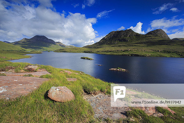 View  mountain  mountains  mountains  water  summits  peaks  Great Britain  Highland  highlands  sky  highland  scenery  landscape  Loch  Loch bath a' Ghaill  nature  panorama  Scottish highlands  Scotland  Europe  lake  lakes  lake scenery  landscape  summer  stack Polly  Sutherland  UK  water  width  broadness  wilderness  blue  Scottish  sunny